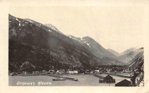 RPPC Skagway, Alaska View of Harbor July, 1922 Vintage Postcard