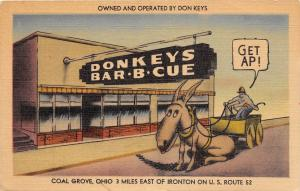 E32/ Coal Grove Ironton Ohio Postcard Linen Roadside Donkeys Barbeque Restaurant