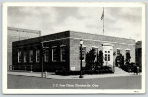 Uhrichsville Ohio~US Post Office~Ice Cream Ghost Sign~1944 B&W CT Postcard