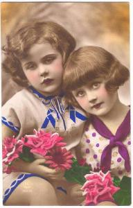 RP, Two Girls Holding Pink Flowers, 1920-1940s