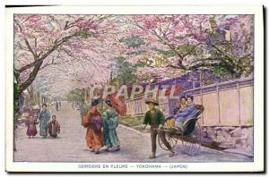 Old Postcard Cherry Flowers Yokohama Japan Nippon