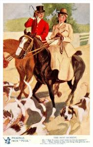 3527  Tuck's  no.2417 Jokes from Puck  Couple on Horseback
