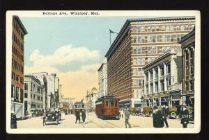 Winnipeg. Manitoba, Canada Postcard, Portage Avenue, Trolley/OPld Cars