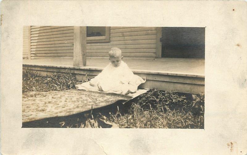 Little Kid Thelma Willsins Sits Next Rug Sidewalk~Real Photo Postcard c1913
