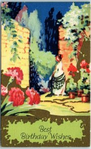 Vintage BIRTHDAY Greetings Postcard Artistic Garden Scene c1910s Unused