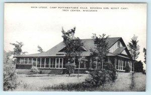 TROY, WI ~ Girl Scout CAMP POTTAWATOMIE HILLS Main Lodge  c1940s  Postcard*