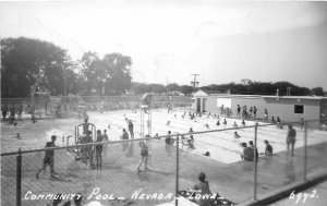 G33/ Nevada Iowa RPPC Postcard c1950s Community Swimming Pool