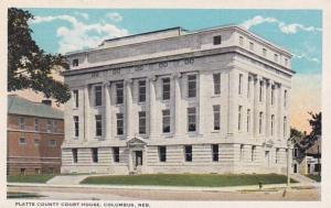 Nebraska Columbus Platte County Court House Curteich