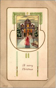 VTG Postcard A Merry Christmas Angel Sled 1908 Art Deco style Germany Mich 1382