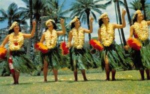 HAWAIIAN DANCERS Hula Dancers Palm Trees c1950s Chrome Vintage Postcard