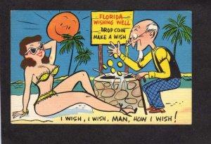 Comic Postcard Card Florida FL Pinup Wishing Well Coins Man Linen Postcard