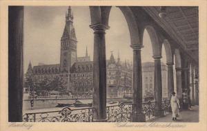 Germany Hamburg Rathaus mit Alsterarkaden