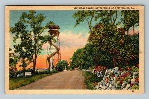 Gettysburg PA-Pennsylvania, Oak Ridge Tower on Battlefield ,Linen c1947 Postcard