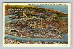 1939 New York World's Fair - Aerial View New York City Site Map, Linen Postcard