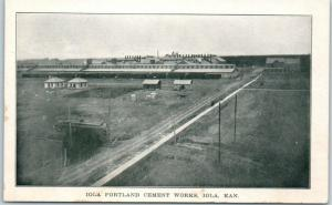 1910s Iola, Kansas Postcard PORTLAND CEMENT WORKS Plant Factory Bird's-Eye View