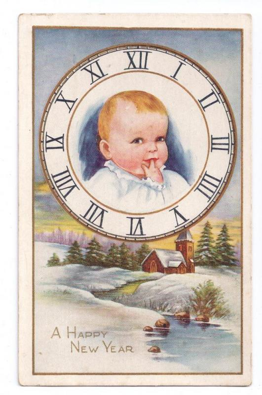Baby New Year in Clock Vintage Whitney Postcard