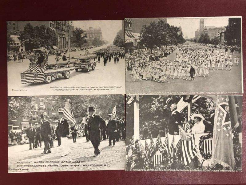 Set of 4 Washington DC 1916 Preparedness Parade with Envelope Postcard AA29291