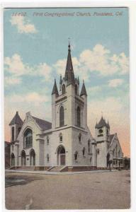 First Congregational Church Pasadena California 1910c postcard