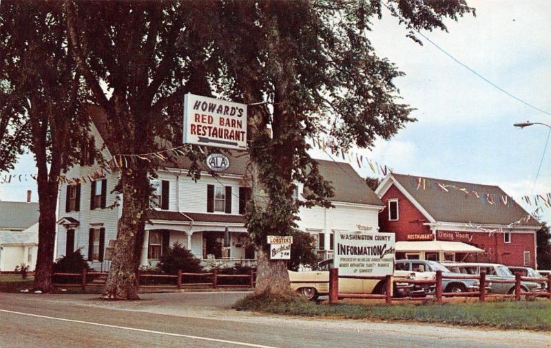 Milbridge Maine~Howard's Red Barn Restaurant~Roadside Diner~1950s Cars~Postcard