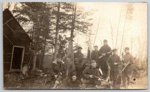 RPPC Hunters Gather @ Cabin w/Guns~Prepare For Big Day of Bagging c1915