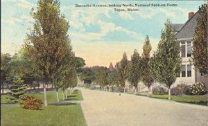 Togus ME - Barracks Avenue looking North at National Soldiers Home, 1900s