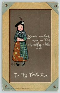 E Curtis Valentine~Scottish Girl on Chalkboard Slate~Bonnie Wee Thing~1909 TUCK