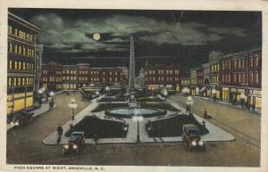 ASHEVILLE , North Carolina , PU-1920; Pack Square at Night