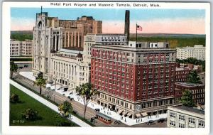 Detroit, Michigan Postcard HOTEL FORT WAYNE & Masonic Temple Street View 1930s