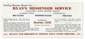 VANCOUVER, B. C., Canada, 1920-30s; Ink Blotter, Ryan's Messenger Service