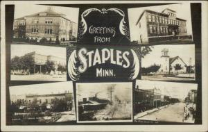 Staples MN Multi-View Real Photo Postcard w/ View of RR Train Depot Station