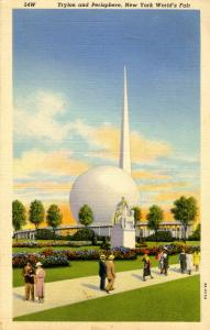 NY - 1939 New York World's Fair. Trylon & Perisphere