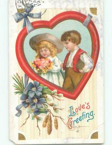 Tape Repair Pre-Linen valentine PRETTY GIRL BESIDE BOY INSIDE HEART k5928