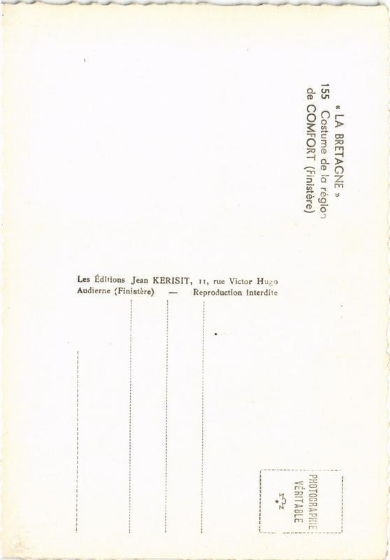 CPM La Bretagne Costume de la region de Comfort FOLKLORE (752780)