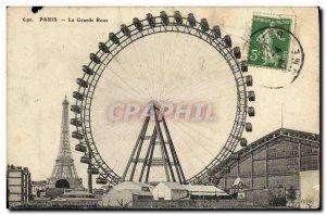 Old Postcard Paris Eiffel Tower Ferris Wheel