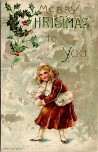 Christmas~Victorian Blonde Girl Throws Snowball~Rust Coat~Glossy Emboss~Germany