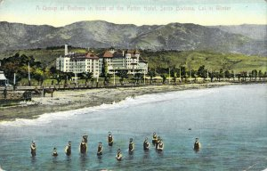 Winter Bathers in Front of Potter Hotel Santa Barbara CA PC Hotel Burned in 1921