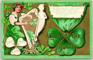 Vintage 1909 ST. PATRICK'S DAY Embossed Postcard ERIN GO BRAGH Girl Playing Harp