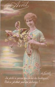 1er Avril April Fool's Day Young Girl Holding Baskey With Fish