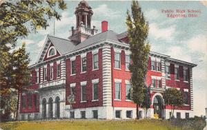 E7/ Edgerton Ohio Postcard 1912 Public School Building