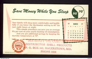 Hagerstown, MD USA - SHELL OIL logo - heating oil, $ave money 1957 March