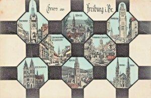 FRIEBERG im. BREISGAU GERMANY~FISCHBRUNNEN-MULTI IMAGE~1906 OSCAR MUTH POSTCARD