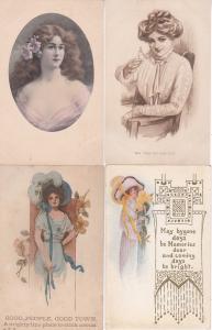 0107 Grabbag Auction 4 Beautiful Ladies Postcards Starting At .99
