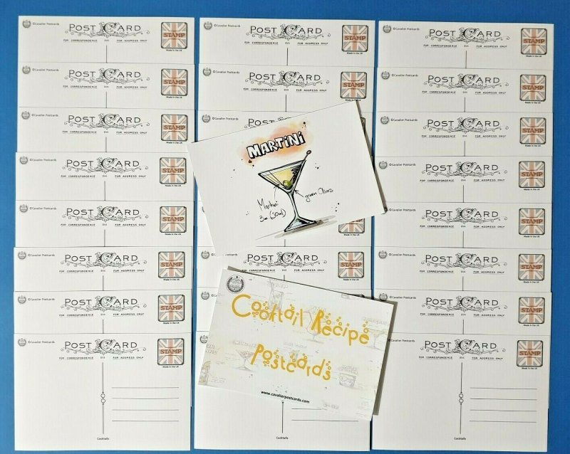 Set of 25 NEW Cocktail Recipe Postcards in Pack with Face Card BV4