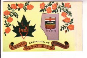 Map of Alberta, Canada, Red Deer Centennial, 1967