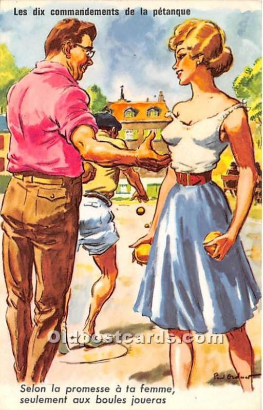 Old Vintage Lawn Bowling Postcard Post Card les Writing on back