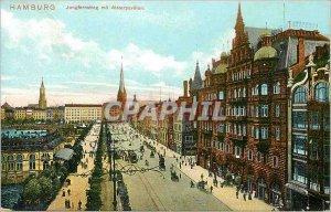 Old Postcard Hamburg Jungfernstieg mit Alsterpavillon Zur schriftlichen Mitte...