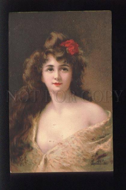 073561 BELLE Lady in YELLOW by Angelo ASTI vintage color PC