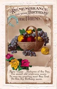 Remembrance on your Birthday, dear Friend! Grapes Apples Fruits Roses real photo