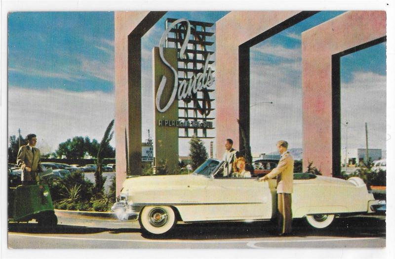 The Sands Las Vegas Nevada 50's Cadillac Convertible Front Entrance Postcard