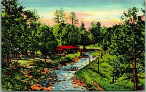 1940s Ruidoso, New Mexico Postcard Rio Ruidoso (The Noisy River) Linen Unused